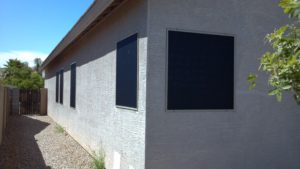 Sun screens installed on west side of phoenix home